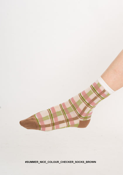 Summer Nice Colour Checker Socks Brown - whoami