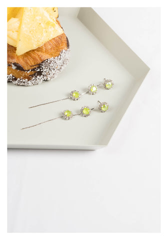 Swarovski Flower Long Earrings Green - whoami