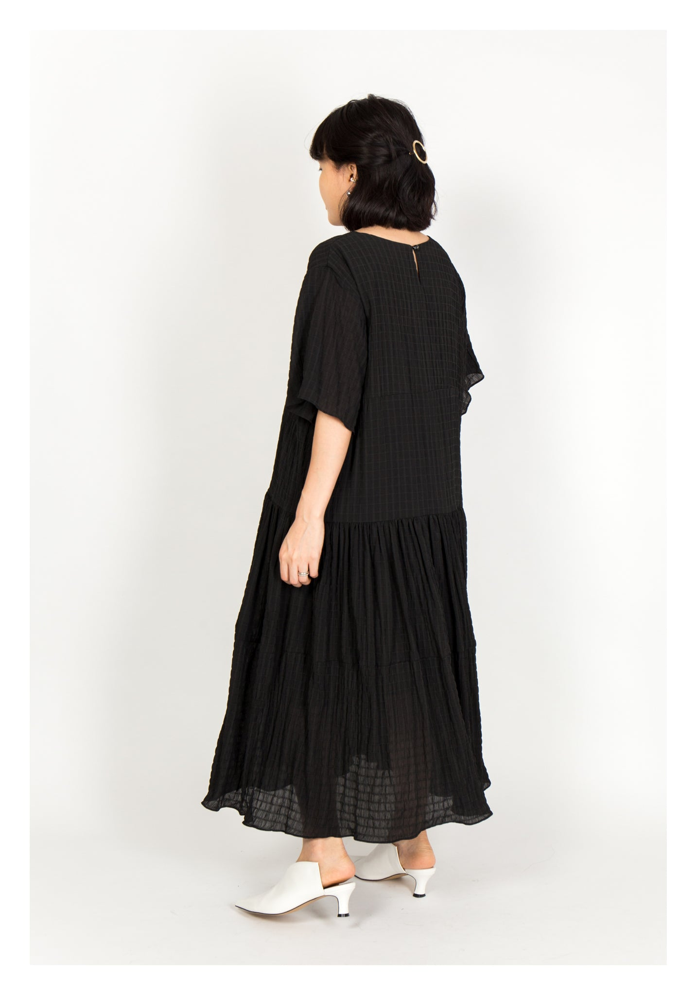 Textured Chiffon Soft Dress Black
