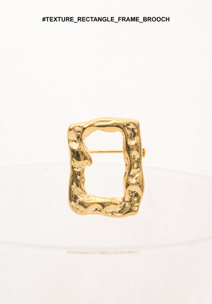 Texture Rectangle Frame Brooch - whoami