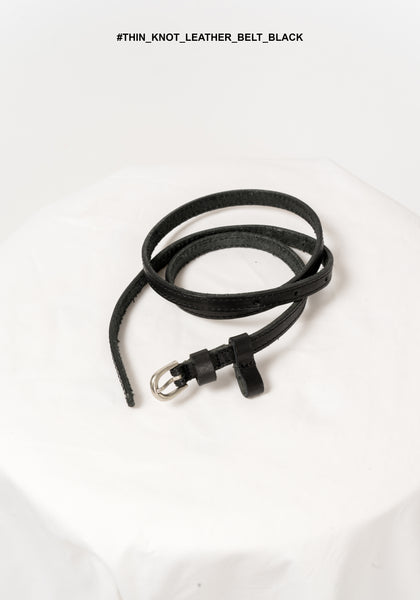 Thin Knot Leather Belt Black - whoami