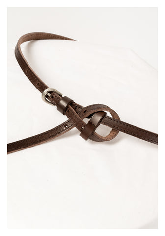 Thin Knot Leather Belt Brown