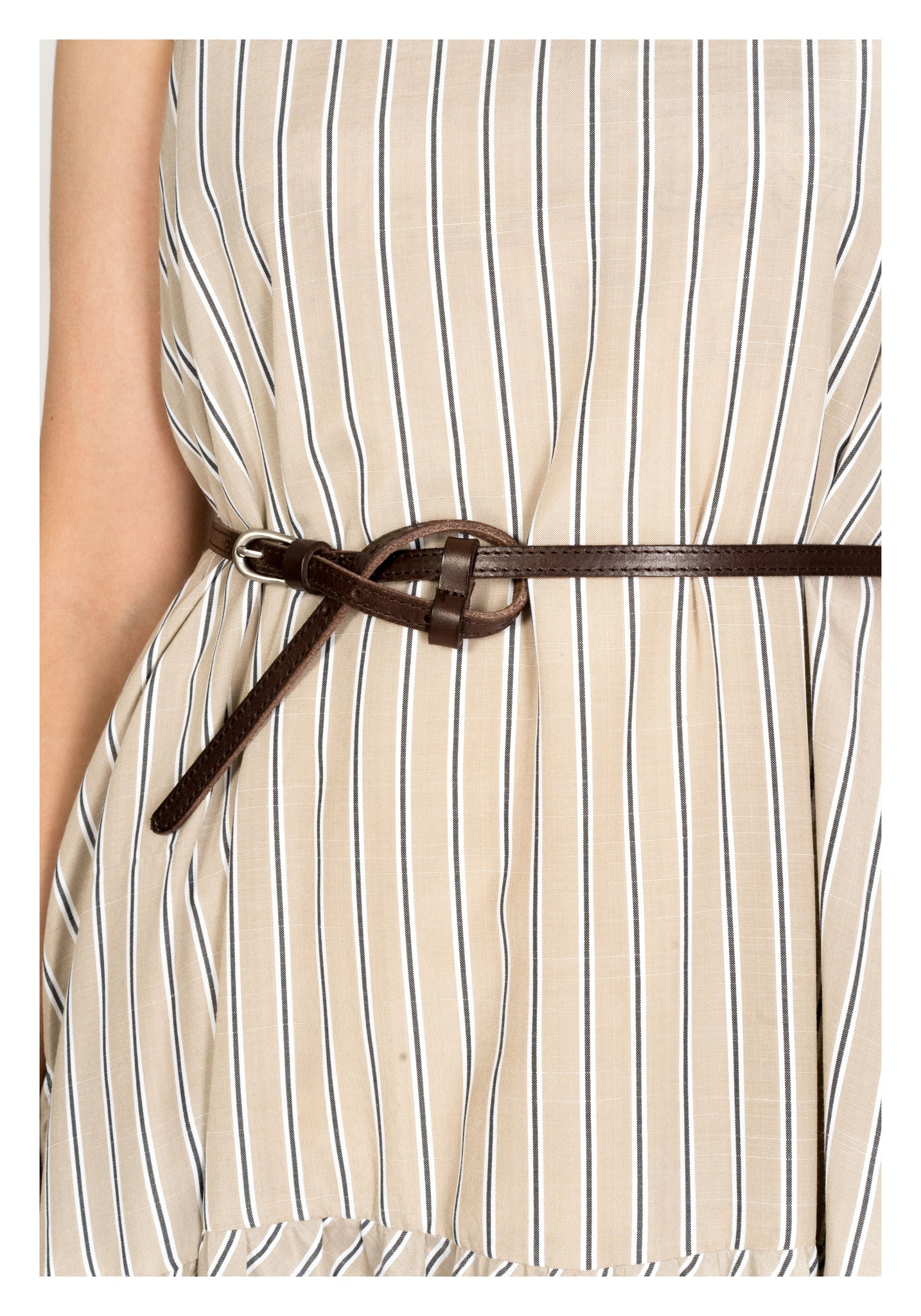 Thin Knot Leather Belt Brown - whoami