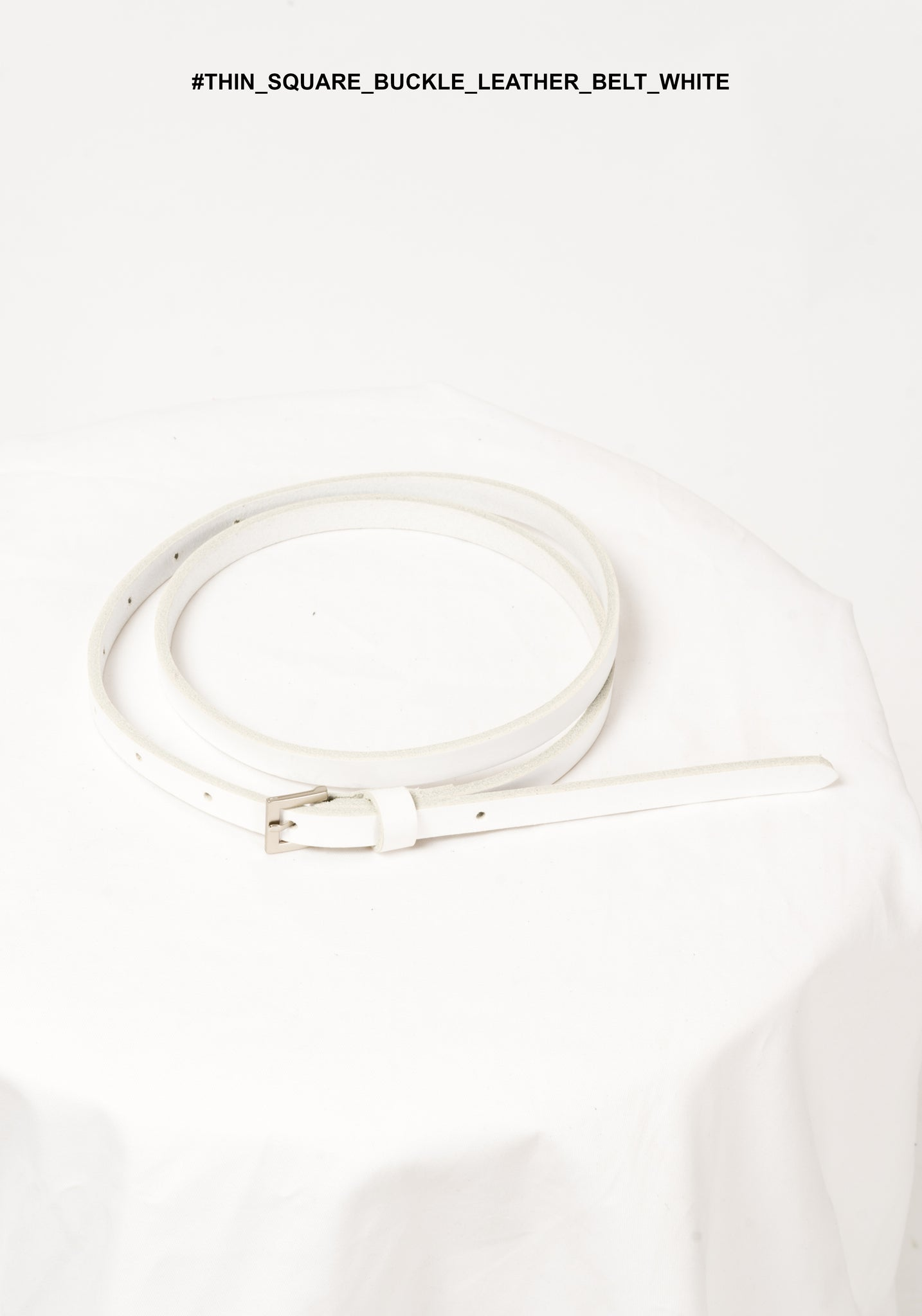 Thin Square Buckle Leather Belt White