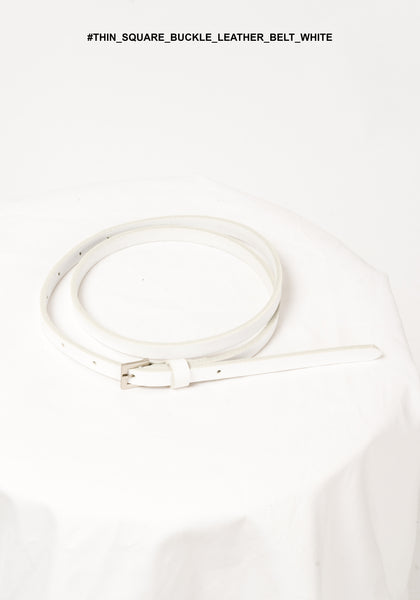 Thin Square Buckle Leather Belt White - whoami