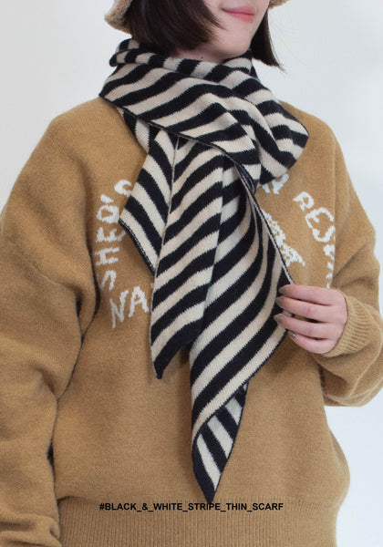 Black & White Stripe Thin Scarf - whoami