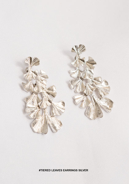 Tiered Leaves Earrings Silver - whoami
