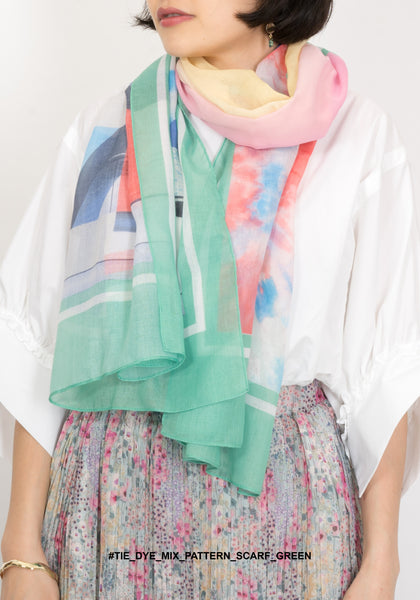 Tie Dye Mix Pattern Scarf Green - whoami