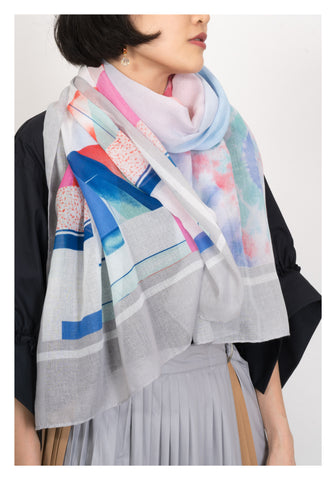 Tie Dye Mix Pattern Scarf Grey