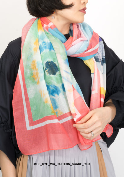 Tie Dye Mix Pattern Scarf Red - whoami