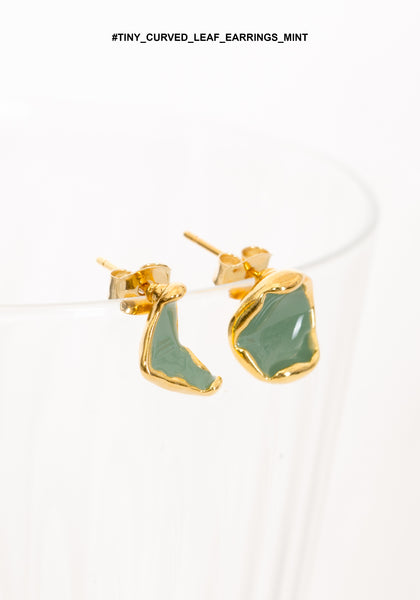 Tiny Curved Leaf Earrings Mint - whoami