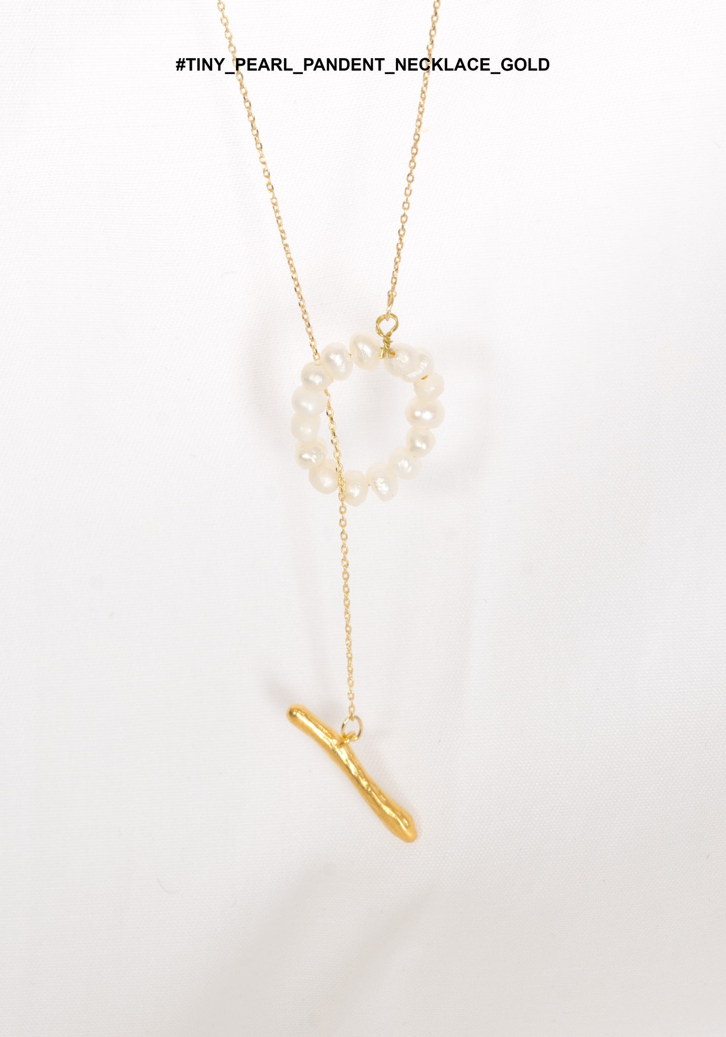 Tiny Pearl Pandent Necklace Gold - whoami