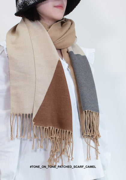 Tone On Tone Patched Scarf Camel - whoami