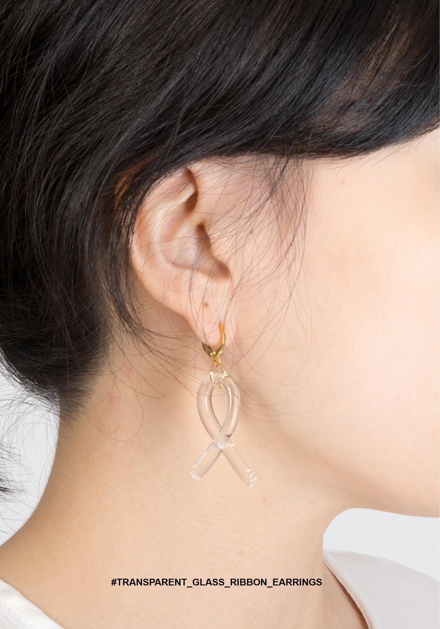 Transparent Glass Ribbon Earrings - whoami