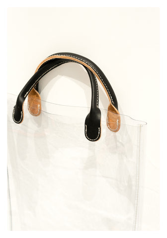 Transparent Leather Handle Mini Tote Black