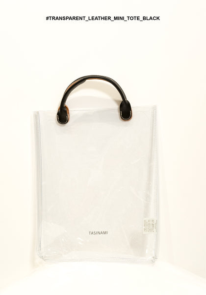 Transparent Leather Handle Mini Tote Black - whoami