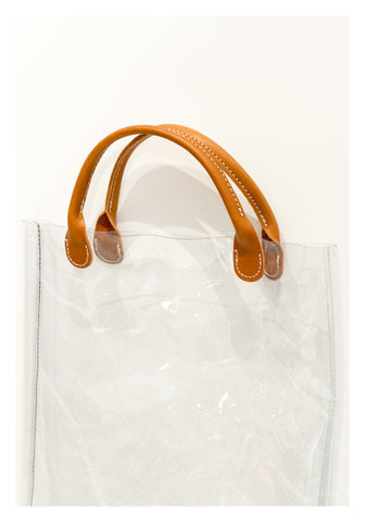 Transparent Leather Handle Mini Tote Brown