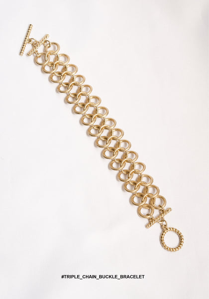 Triple Chain Buckle Bracelet