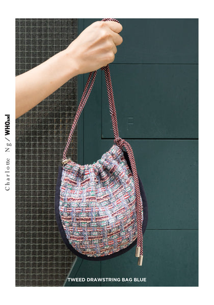 Tweed Drawstring Bag Blue