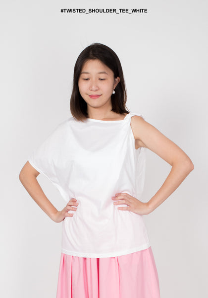 Twisted Shoulder Tee White