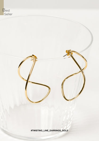Twisting Line Earrings Gold - whoami