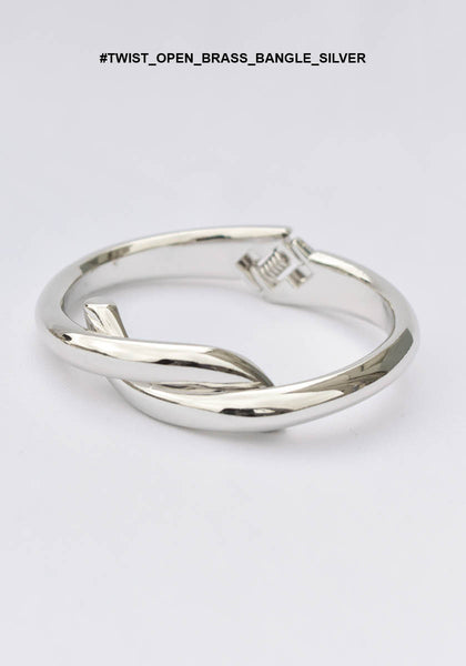 Twist Open Brass Bangle Silver - whoami
