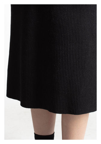 Two Tone Edge Daily Knit Dress Black - whoami