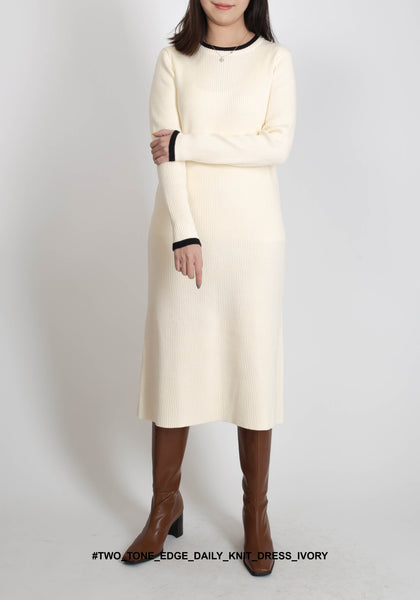 Two Tone Edge Daily Knit Dress Ivory - whoami