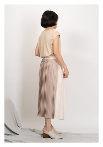 Two Tone Faux Leather Pleated Wrap Skirt Beige