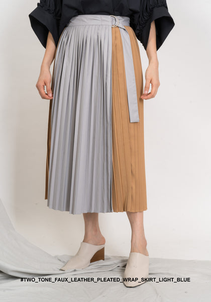 Two Tone Faux Leather Pleated Wrap Skirt Light Blue