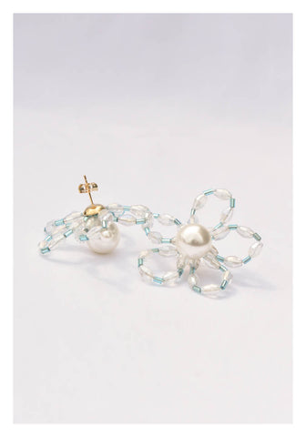 Two Tone Long Beads Flower Earrings - whoami