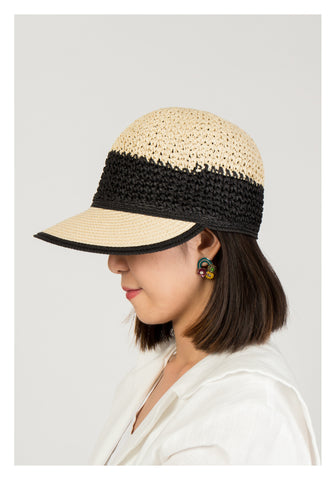 Two Tone Rattan Jockey Cap - whoami