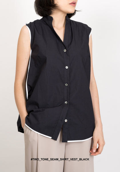 Two Tone Seam Shirt Vest Black