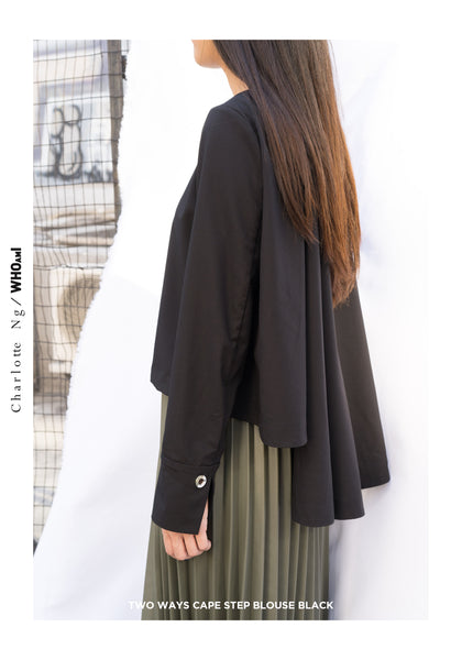 Two Ways Cape Step Blouse Black - whoami