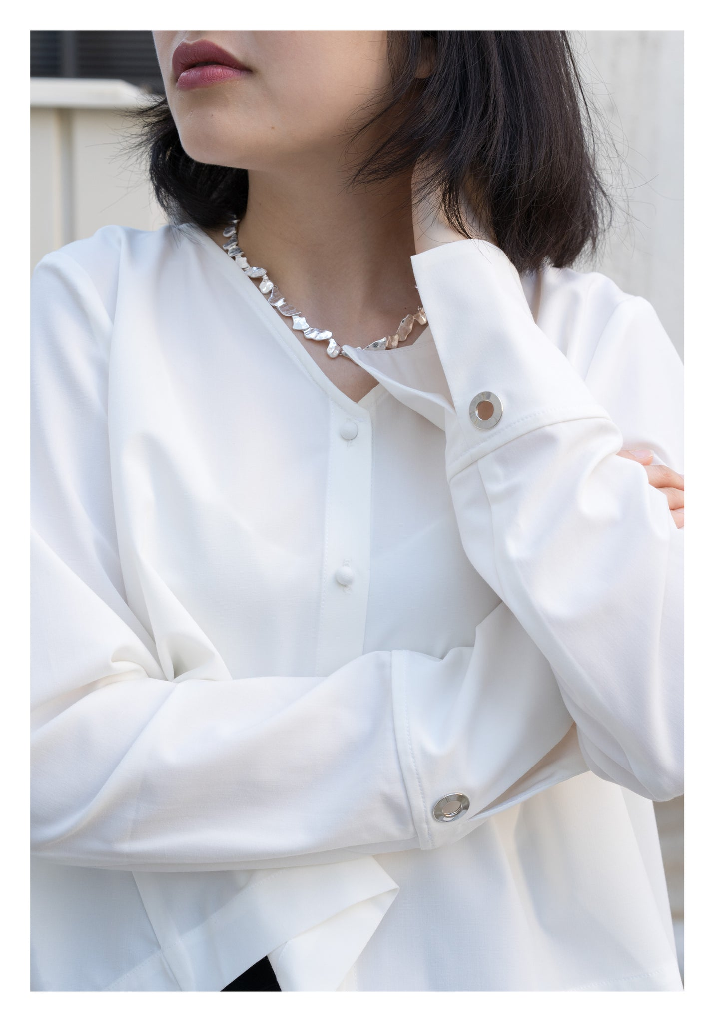 Two Ways Cape Step Blouse White - whoami