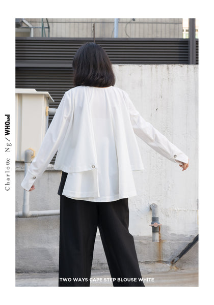 Two Ways Cape Step Blouse White