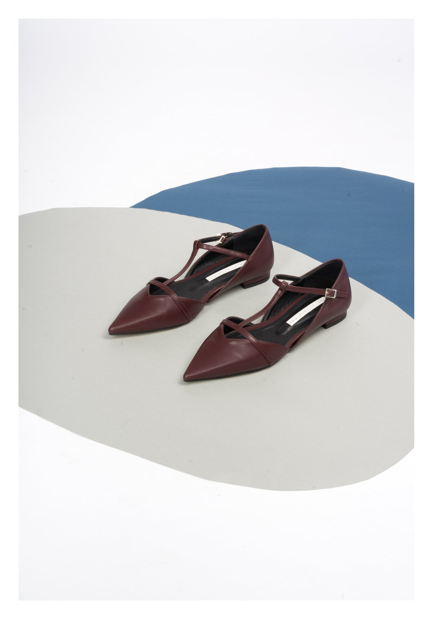 T-Strap Pointed Flats Burgundy