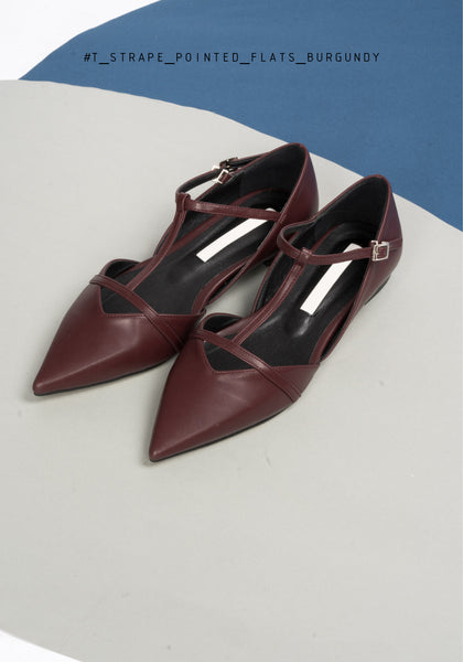 T-Strap Pointed Flats Burgundy - whoami