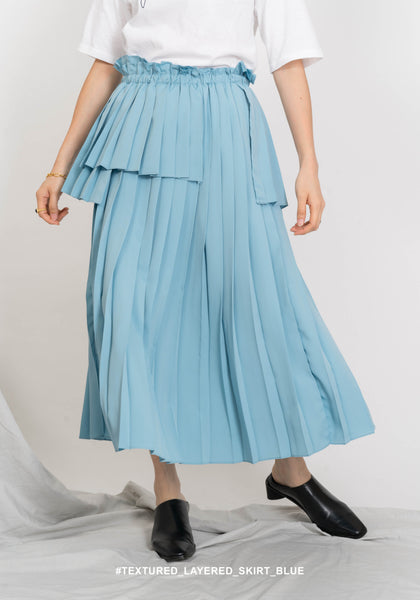 Textured Layer Pleated Skirt Blue - whoami