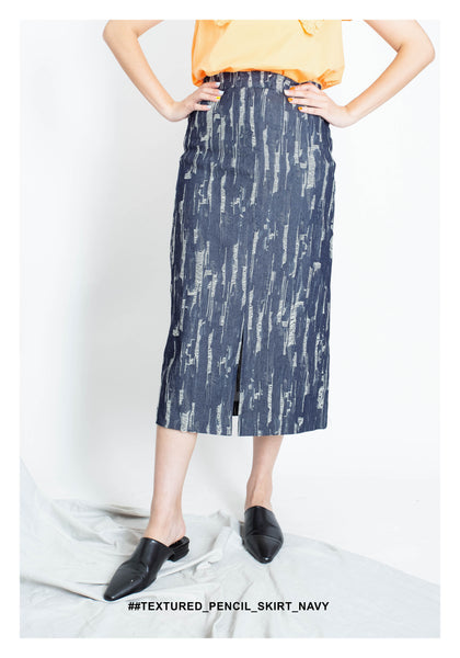 Textured Pencil Skirt Navy - whoami