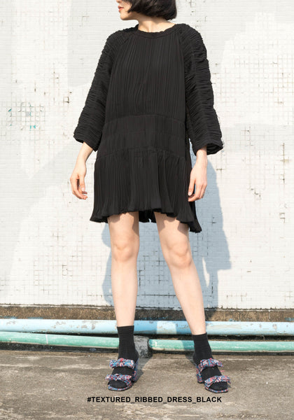 Textured Ribbed Dress Black - whoami