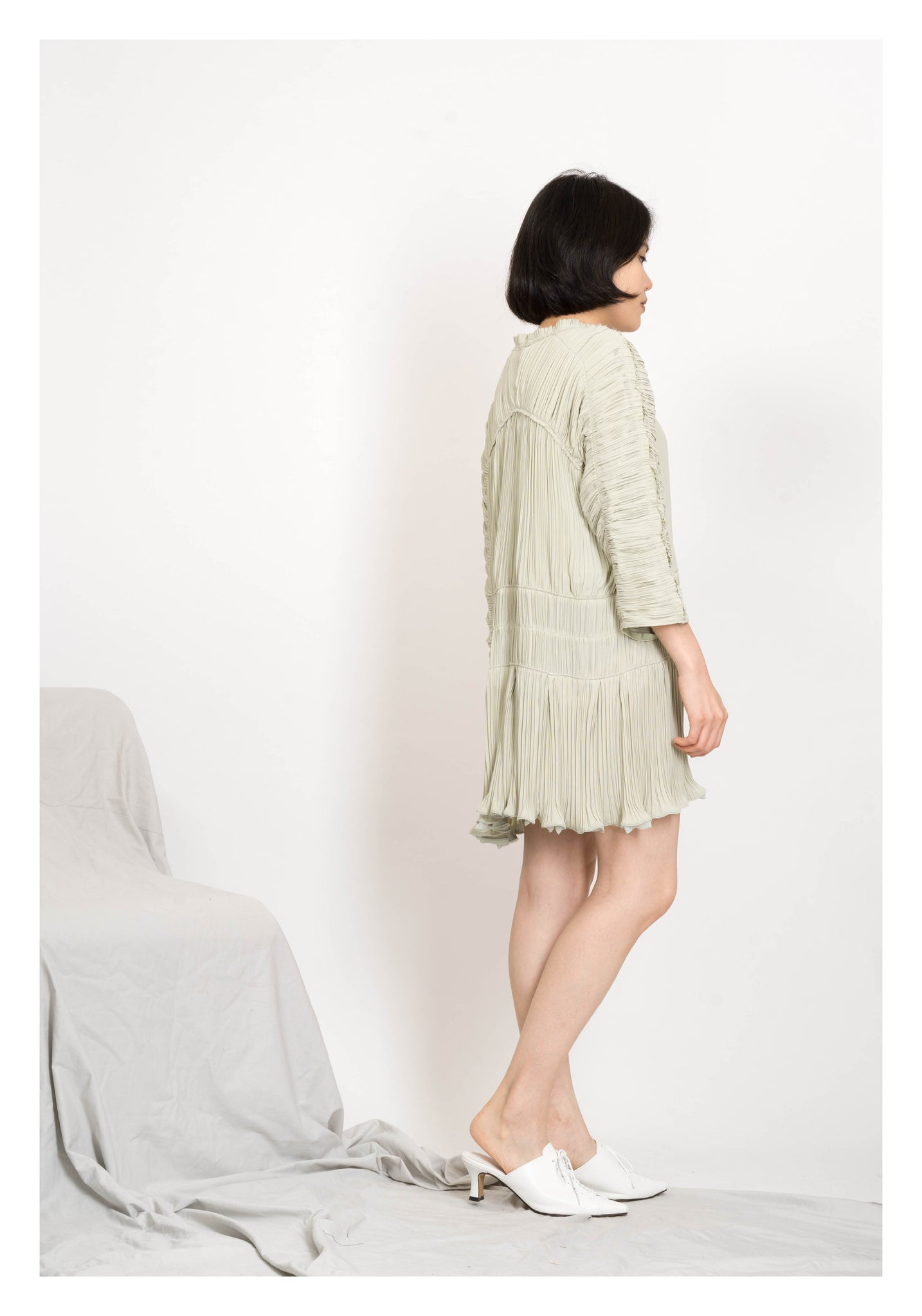 Textured Ribbed Dress Mint - whoami