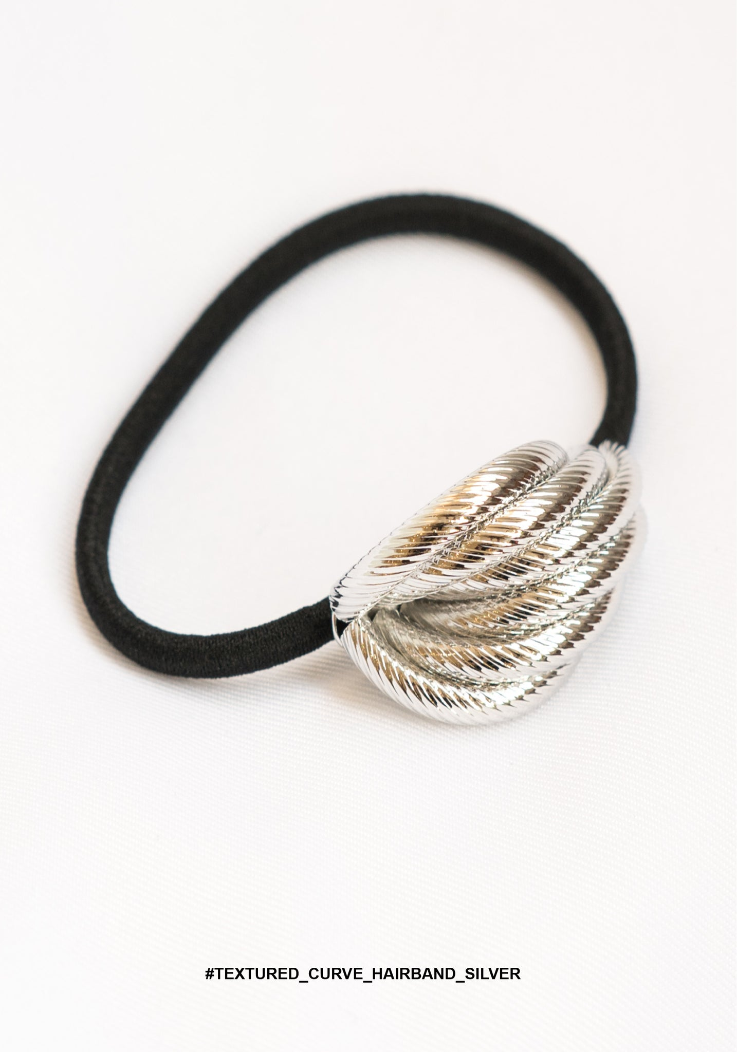 Textured Curve Hairband Silver - whoami