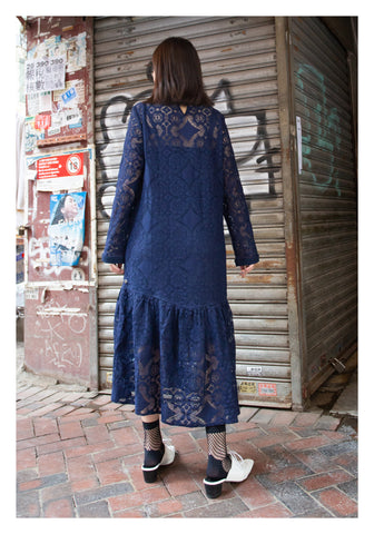 The Moment Lace Dress Navy - whoami