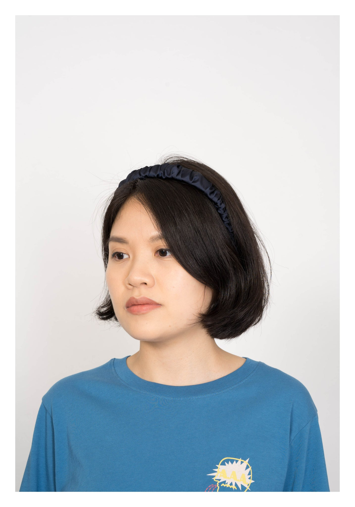 Thin Satin Gather Head Band Navy - whoami