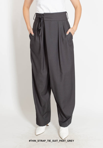 Thin Strap Tie Suit Pants Grey - whoami