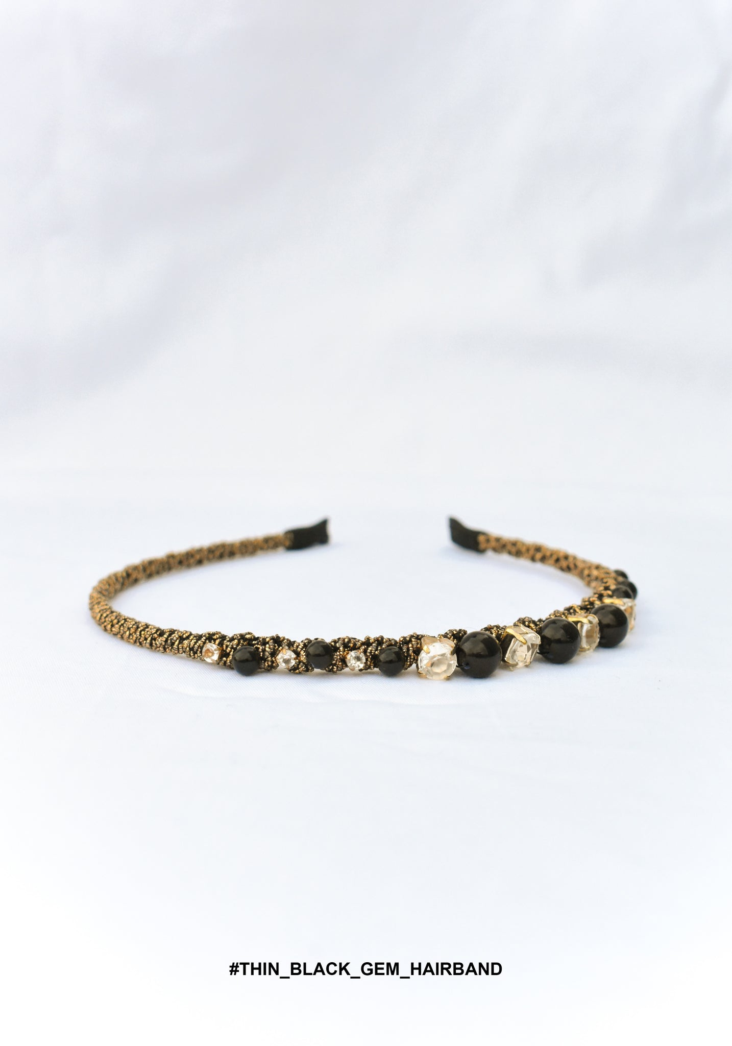 Thin Black Gem Hairband - whoami