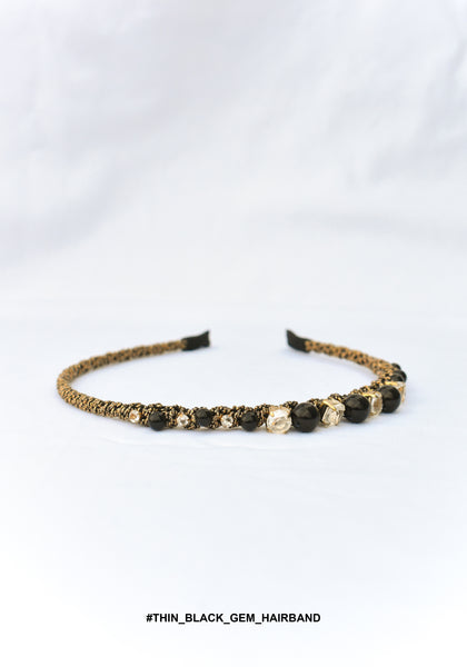 Thin Black Gem Hairband