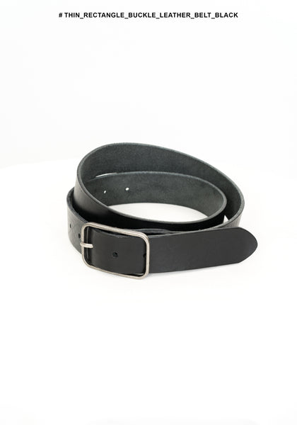 Thin Rectangle Buckle Leather Belt Black - whoami