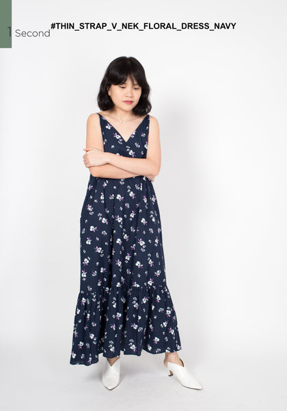 Thin Strap V Neck Floral Dress Navy